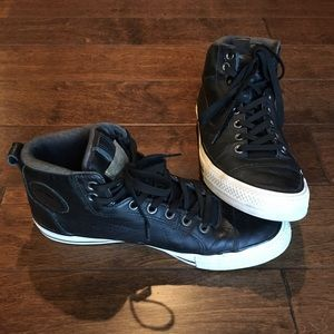 Converse Black Leather High Top Sneakers, 11.5